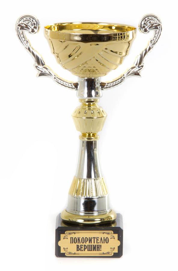 Золотой кубок-чаша с ручками Покорителю вершин