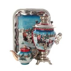 Набор с самоваром на 3 литра с росписью Зимняя тройка