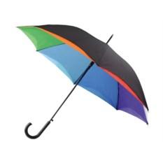 Зонт-трость с черным куполом и клиньями цвета радуги внутри