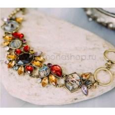 Винтажный браслет «Астры» с крупными цветами