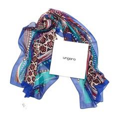 Сине-бирюзовый шелковый палантин Ungaro