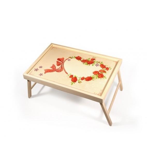 Столик для завтрака в кровати «Сердце из роз»