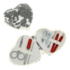 Набор Сердечный маникюр, бело-серый