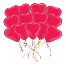 Облако из 25 латексных шаров Сердца