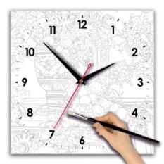 Часы для росписи Цветы акварелью