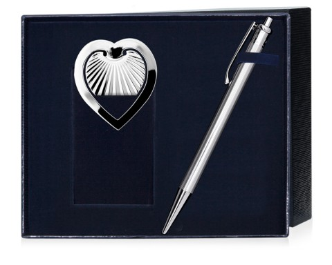 Серебряный набор: ручка и закладка для книг
