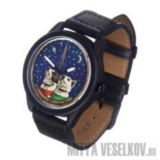 Часы Mitya Veselkov Белка и Стрелка (черный корпус)