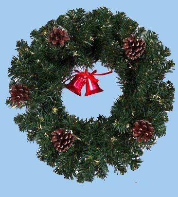Венок Рождественский, украшенный, с шишками,  35 см