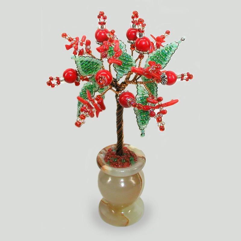 Винтажное дерево из камней коралла в вазочке из оникса