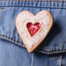 Брошь Сердечная печенька