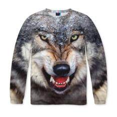 Мужской свитшот с полной запечаткой Волк
