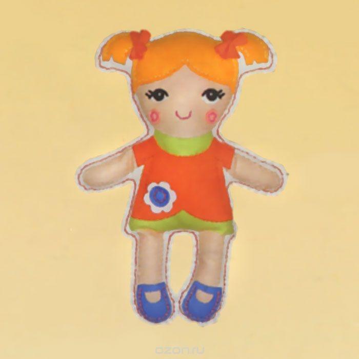 Набор для шитья из фетра Кукла в оранжевом платье