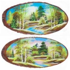Горизонтальное панно на срезе дерева Весна 90-95 см