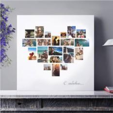 Коллаж из 20 фото в форме сердца