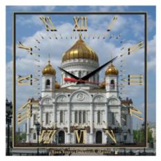 Квадратные часы Москва. Храм Христа Спасителя