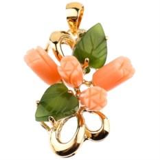 Позолоченный кулон с кораллом и нефритом Букет чайных роз