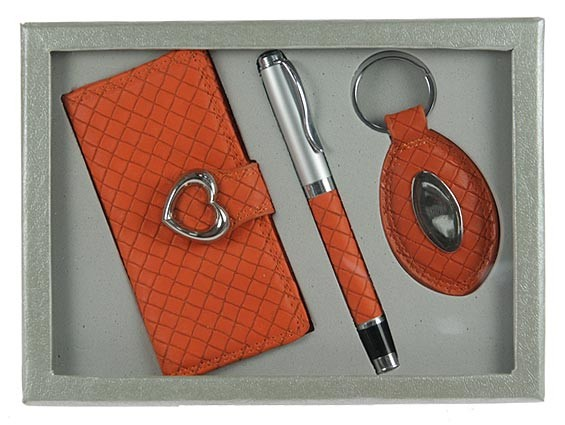 Оранжевый подарочный набор: ключница, ручка, брелок