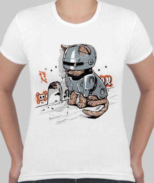 Женская футболка Кот в броне