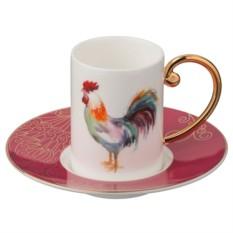 Кофейный набор Петух (цвет — красный)