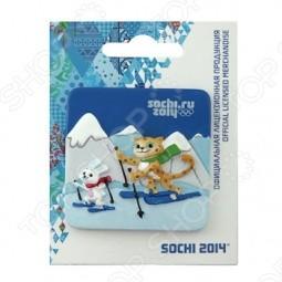 Магнит Sochi 2014 «Лыжные гонки с Леопардом и Зайкой»