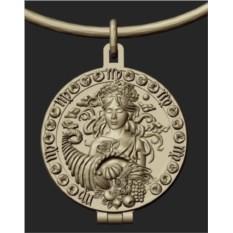 Серебряный открывающийся медальон Дева