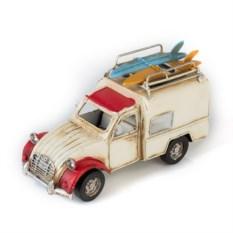 Ретро-модель Бело-красный автомобиль с рамкой и подставкой