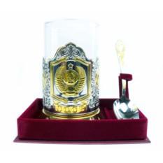 Позолоченный подстаканник Герб СССР в футляре