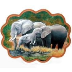 Панно из каменной крошки Слоны на водопое