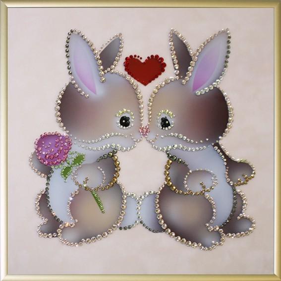 Картина с кристаллами Swarovski Влюбленные кролики