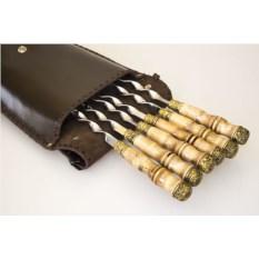 Шашлычный набор на 6 персон в коричневом кожаном чехле