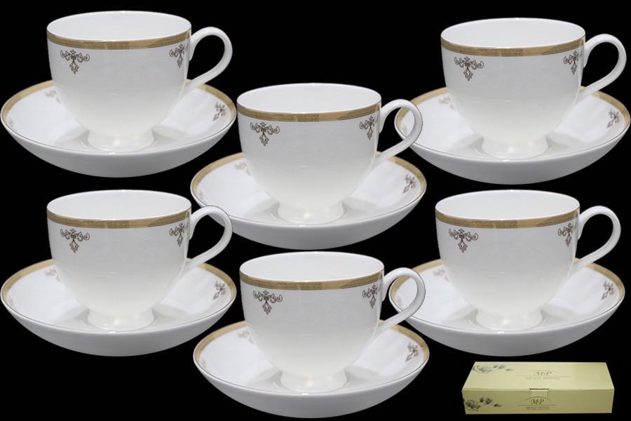 Чайный набор Ампир из 12 предметов (костяной фарфор)