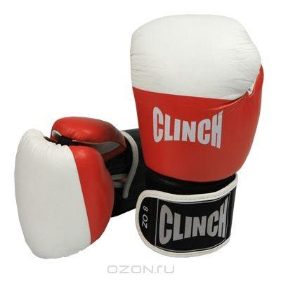 Боксерские перчатки Clinch, 8 унций (244-8), красные, белые
