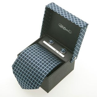 Набор из галстука, запонок и заколки S.Quire, голубые квадр.