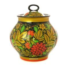 Сахарница с художественной росписью Хохлома рябинка