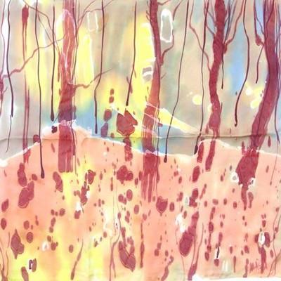 Платок из натурального шёлка Осенний лес