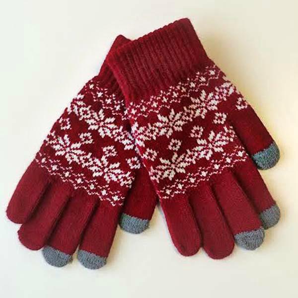 Красные дизайнерские перчатки для сенсорных устройств