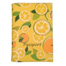 Кожаная обложка для паспорта Лимончики