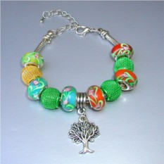 Зеленый браслет в стиле Пандора