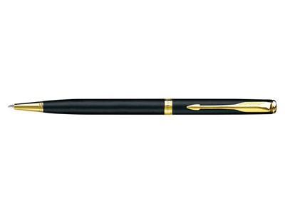 Ручка шариковая Parker модель Sonnet тонкая черная с золотом