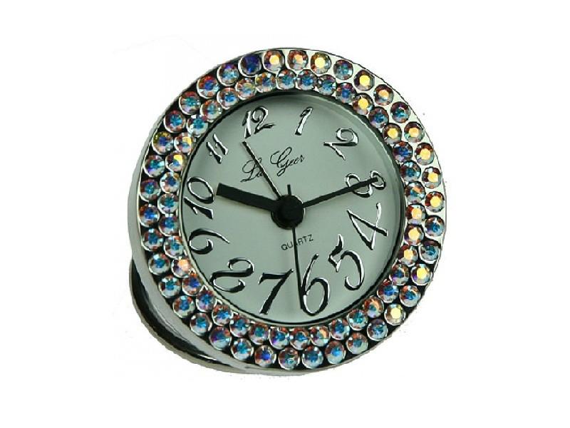 Круглые настольные часы с разноцветными стразами