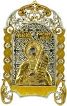 Серебряная настольная икона с образом Александра Невского