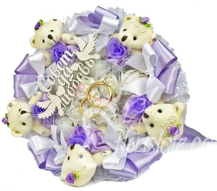 Свадебный букет с 5-ю мишками и кольцами (цвет: фиолетовый)