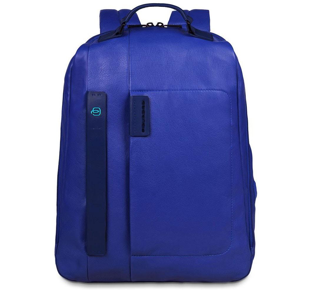 Синий кожаный рюкзак для ноутбука Piquadro Pulse