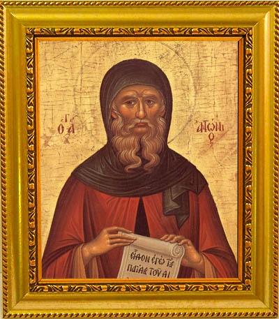 Антоний Великий Святой преподобный. Икона на холсте.