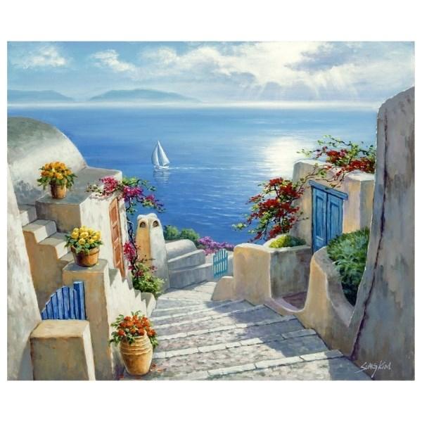 Картина-раскраска по номерам на холсте Греция