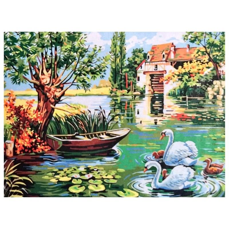 Картина-раскраска по номерам на холсте Пруд у дома