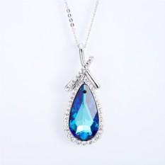 Кулон «Безмятежность» с синим кристаллом Сваровски