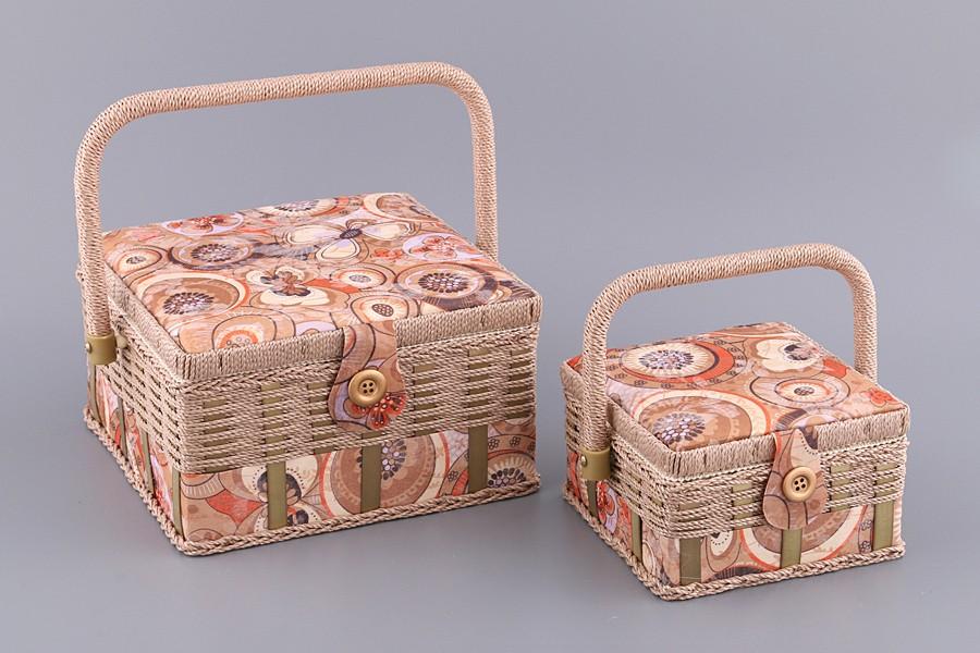 Набор кремово-розовый шкатулок для рукоделия