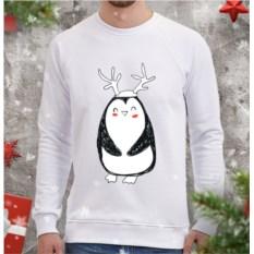 Белый мужской свитшот Пингви с рожками
