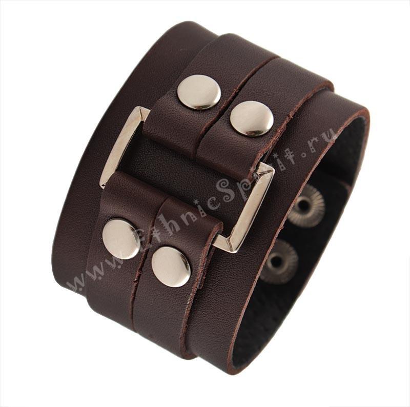 Темно-коричневый кожаный браслет с металлической вставкой